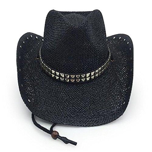 Black Studded Cowboy Hat - AccessHeadwear Old Stone Rockstar Men's Women's