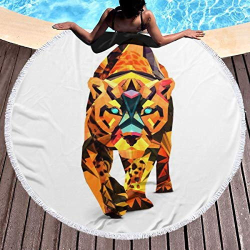 Round Surf Beach Towel - Orange Tiger Blanket Microfiber Yoga Mat with Tassels Ultra Soft Super Water Absorbent Multi-Purpose Towel ()