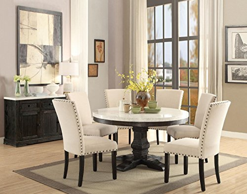 Height 54 Inch Round Pedestal Table - ACME 7PC Round White Marble Top Weathered Black Finish Wood Dining Table Set