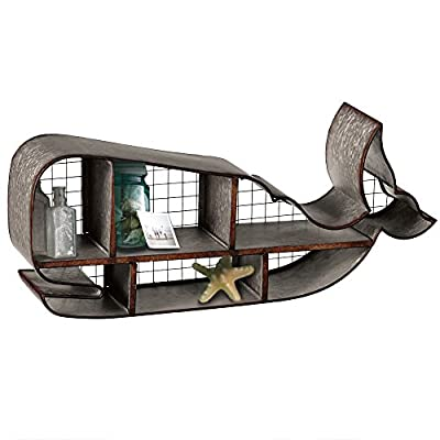 Red Co. Industrial Style Galvanized Whale Shaped Distressed Wall Shelf - 28 Inches Long - Your new perfect spot for a favorite set of books, floral arrangements, plants or towels A striking, bold piece intended to decorate a room and keep your belongings organized Made from galvanized metal in slightly distressed finish - wall-shelves, living-room-furniture, living-room - 51xhZlph96L. SS400  -