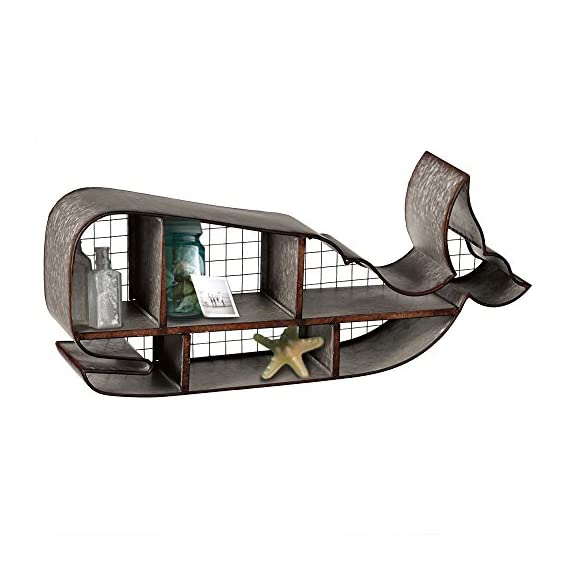 Red Co. Industrial Style Galvanized Whale Shaped Distressed Wall Shelf - 28 Inches Long - Your new perfect spot for a favorite set of books, floral arrangements, plants or towels A striking, bold piece intended to decorate a room and keep your belongings organized Made from galvanized metal in slightly distressed finish - wall-shelves, living-room-furniture, living-room - 51xhZlph96L. SS570  -