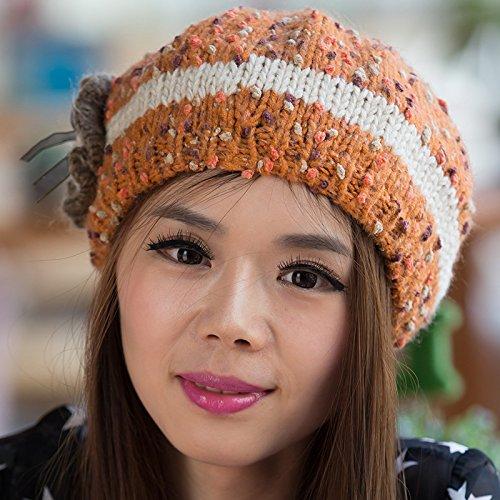 Cuentas Maozi Sombreros Invierno Flores señoras de de Sombrero Coreana Versión Punto enganchado ORANGE Lana otoño Mano Blue e de 4I68a4r