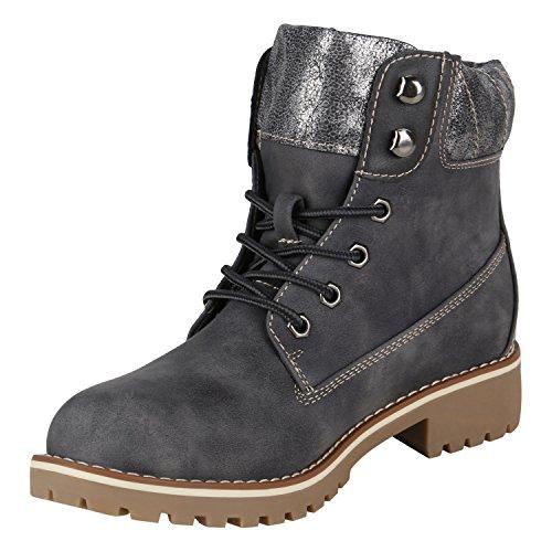 Stiefelparadies Damen Herren Unisex Warm Gefütterte Stiefeletten Outdoor Worker Boots Profilsohle Winterschuhe Camouflage Schuhe Übergrößen Flandell Dunkelgrau Metallic