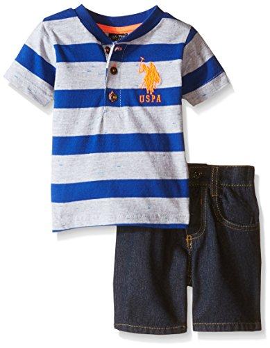 U.S. Polo Assn. Baby Boys' Striped Henley and Denim Short Set