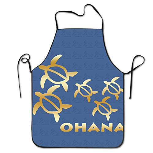 Ohana Honu Hawaiian Sea Turtle Gold Logo Kitchen Barbecue Apron (Bar Ohana)