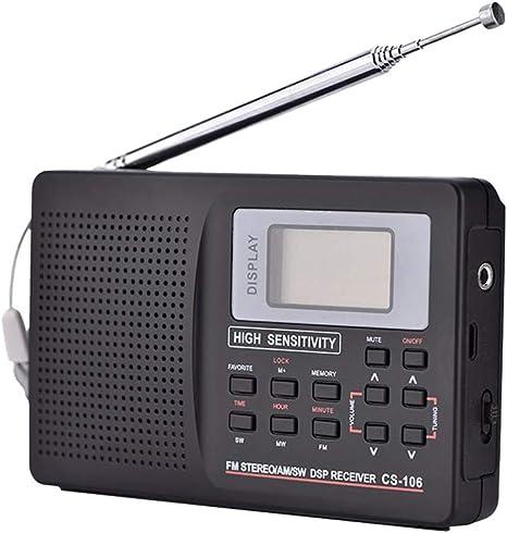 QAIYXM Mini FM Radio Receptor de Radio portátil de la Ayuda FM/Am/SW/LW/Frecuencia TV Sonido Completo Receptor de Radio Despertador Soporte para Personas Mayores,B: Amazon.es: Deportes y aire libre