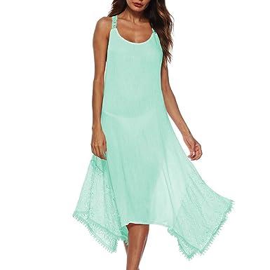 4f03c222d3 Suit Skirt Elegant Lace Dress Women s Sleeveless Irregular Cocktail Dress  Sleeveless Casual Beach Dress Sundress Green