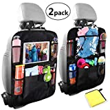 Car Organisers, Universal Car Back Seat Organiser, Waterproof Backseat Cover Five Storage Pockets, Kids Kick Mats, Car Van Seat Back Protectors with iPad Holder, Family Trip Travel Accessories (2pack)