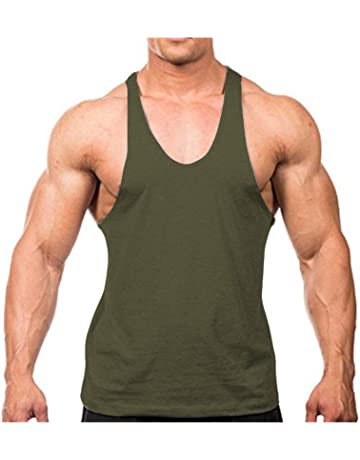 61d61a4b Men's Stringer Gym Tank Top Shirt Print Cotton Bodybuilding Sport Vest