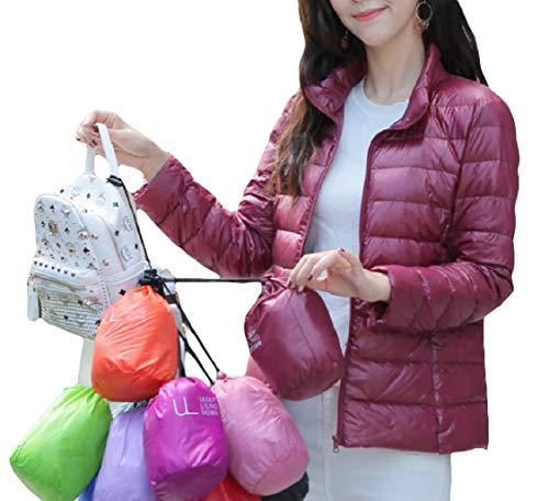 Cappotto Rosso Di Leggero Svago Giù Mini size Coreana Plus Lampo Colletto Vino Alla Donne Chiusura Energia RvwP6q0wZ