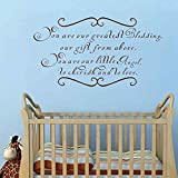 Elma332Tuttle You Are Our Greatest Blessing A Gift From Above Twin Vinyl Wall Decal Quote Saying Baby Girl Boy Nursery Bedroom Decor(30'' h x56 w)