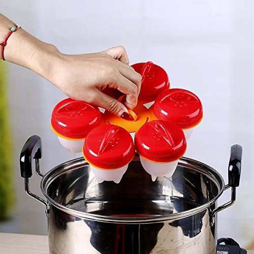 Nonstick Silicone Egg Cooker - Hard Boiled Eggs without the Shell, Egglies Free with the Egg Cooker Holder AS SEEN ON TV,6 Pack by ASUKALA (Image #3)