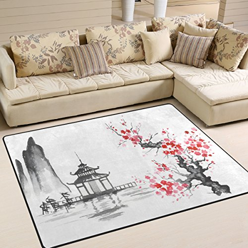 ALAZA Traditional Japanese Oil Painting Mountain Cherry Blossom Area Rug Rugs for Living Room Bedroom 7' x 5'