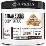 pureSCRUBS Premium Organic Brown Sugar COCONUT FACE & BODY SCRUB Set - Large 16oz, Infused With Organic Essential Oils…