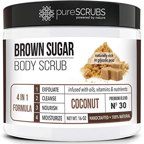 Premium BROWN SUGAR Body Scrub Exfoliating Set - Large 16oz COCONUT SCRUB For Face & Body, Infused Organic Essential Oils & Nutrients + FREE Wooden Stirring Spoon, Loofah & Mini Exfoliating Bar Soap