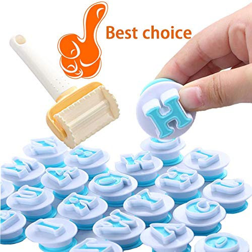 GABraden Alphabet Letter Fondant Cake Biscuit Mold and Rolling Biscuit Cutter,Cookie Stamp Impress,Cake Tool Upper Case Letter Shape DIY Cookie Biscuit,Plastic,Uppercase Letters 26PCS/Set