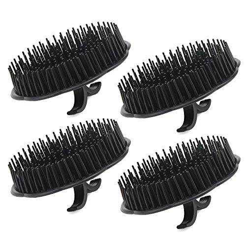 4pcs Scalp Massager Shampoo Brush, Segbeauty Massage Hair Brush Floriated Shower Comb for Deep Cleaning Hair Men's Hand Brush Growth Beard Brush Pet Grooming Brushes - Black