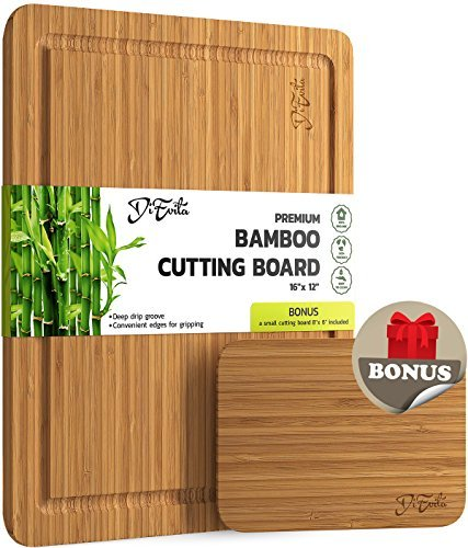 LARGE Premium Bamboo Cutting Board w/ EXTRA BONUS – Deeper Juice Groove, Convenient Edges for Lifting & Moving, Lightweight & Very Durable Surface by DiEvita