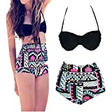 WeStore High Waisted Floral Women's Bikini Set 2 Piece Vintage Push Up Underwire Bathing Suits Swimwear for Teens (S)