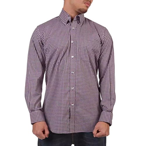 Forsyth of Canada Classic Fit Non-Iron Long Sleeve Grid Check Sport Shirt (Plum, X-Large)