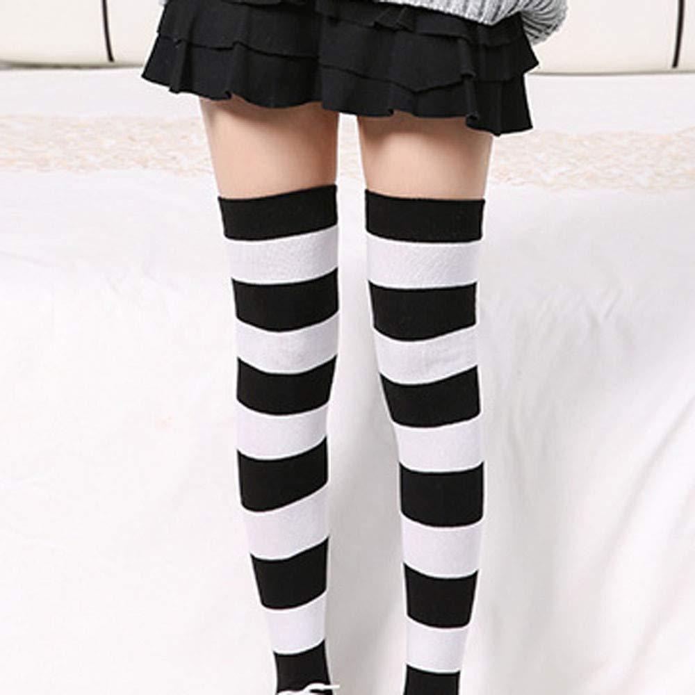 DOGZI Calcetines largos mujer Blanco y negro Raya Tubo alto Calcetines encima de la rodilla Calcetines Muslo Largo Algodón Calentar Medias Invierno ...