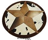 Cowskin Cowhide Rug Round 4' x 4' Brown Star Patchwork Round Carpet Handmade