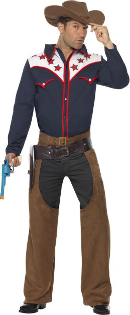 Herren Erwachsene Cowboys und Indianer Outfit Rodeo Cowboy Kostüm Fancy Gents Kleid Gr. 40/46 DE Large, Multi