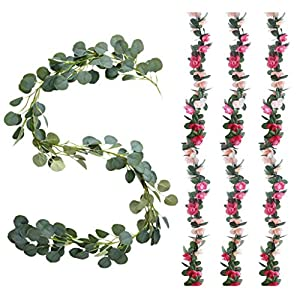 Meiliy Artificial Greenery Eucalyptus Garland Faux Eucalyptus Leaves Vines for Home Table Runner Wedding Decor 52