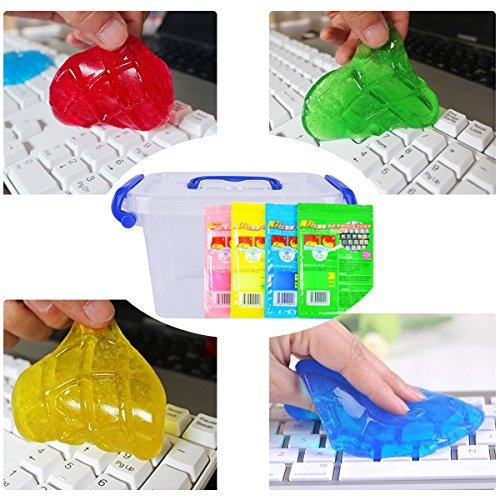 Keyboard Cleaning Gel (4pcs+Storage Box) BEDEE Keyboard Cleaner Remove Dust, Hair, Crumbs, Dirt and Germs from Keyboard, Car Air Vent,Tablets,Remote Controller,Calculators,Rid your Electonics of Germs