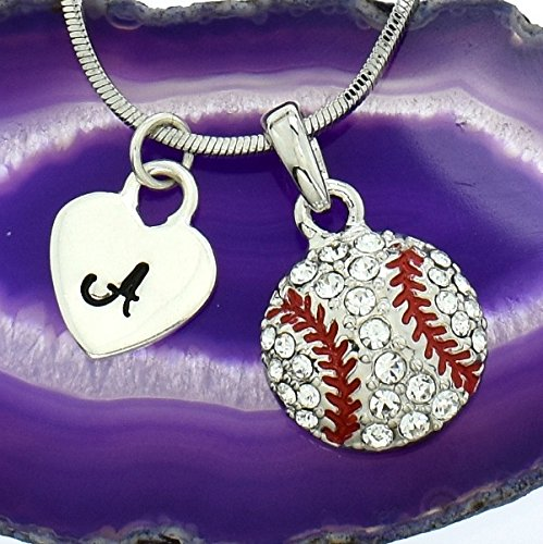 Baseball Ball Personalized Necklace Sparkling Crystal Pendant Chain Customizable Hand Stamped Initial Letter Silver Heart Custom Charm Gift Sport Jewelry (Necklace Mlb Genuine)