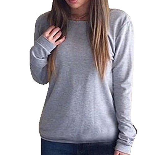Minetom Sexy shirt donne Backless Sport girocollo lunga maniche V profonda Slim Fit Top