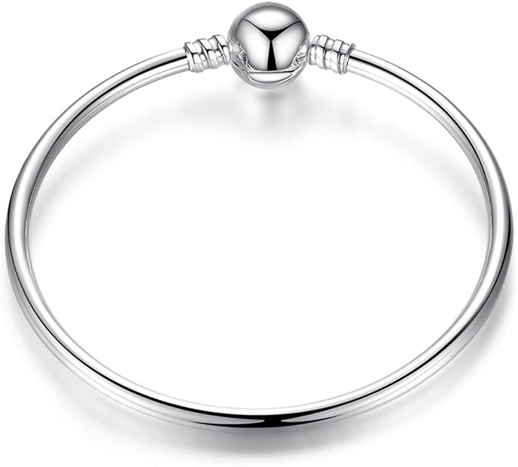 Everbling Glossy Bangle 925 Sterling Silver Charm Bracelet