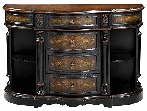 Stein World Furniture Vila Credenza, Mediterranean Oliver, Black and Wood Tones (Stein Furniture Wood)