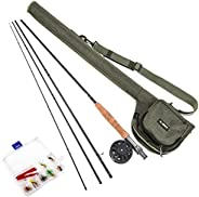 Walmeck 9' Fly Fishing Rod and Reel Combo with Carry Bag 10 Flies Complete Starter Package Fly Fishing