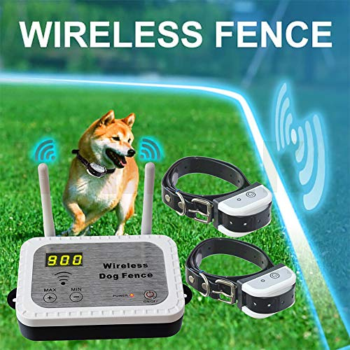 JUSTPET Wireless Dog Fence Electric Pet Containment System, Safe Effective Anti Over Shock Design, Adjustable Control Range 900 Feet & Display Distance, Rechargeable Waterproof Collar (2 Dog System)