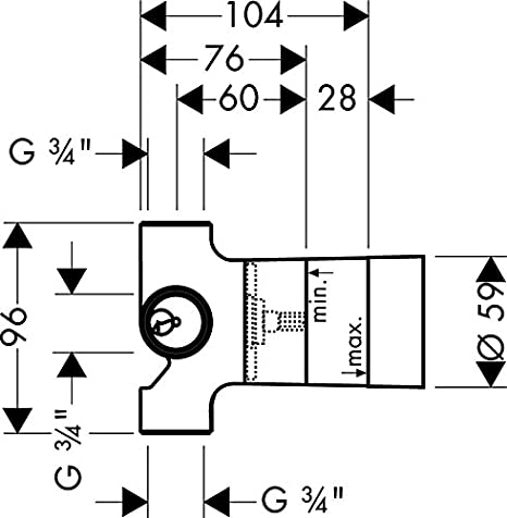 Hansgrohe 15981180 Corps dencastrement Trio Universal avec inverseur et robinet darr/êt DN 20