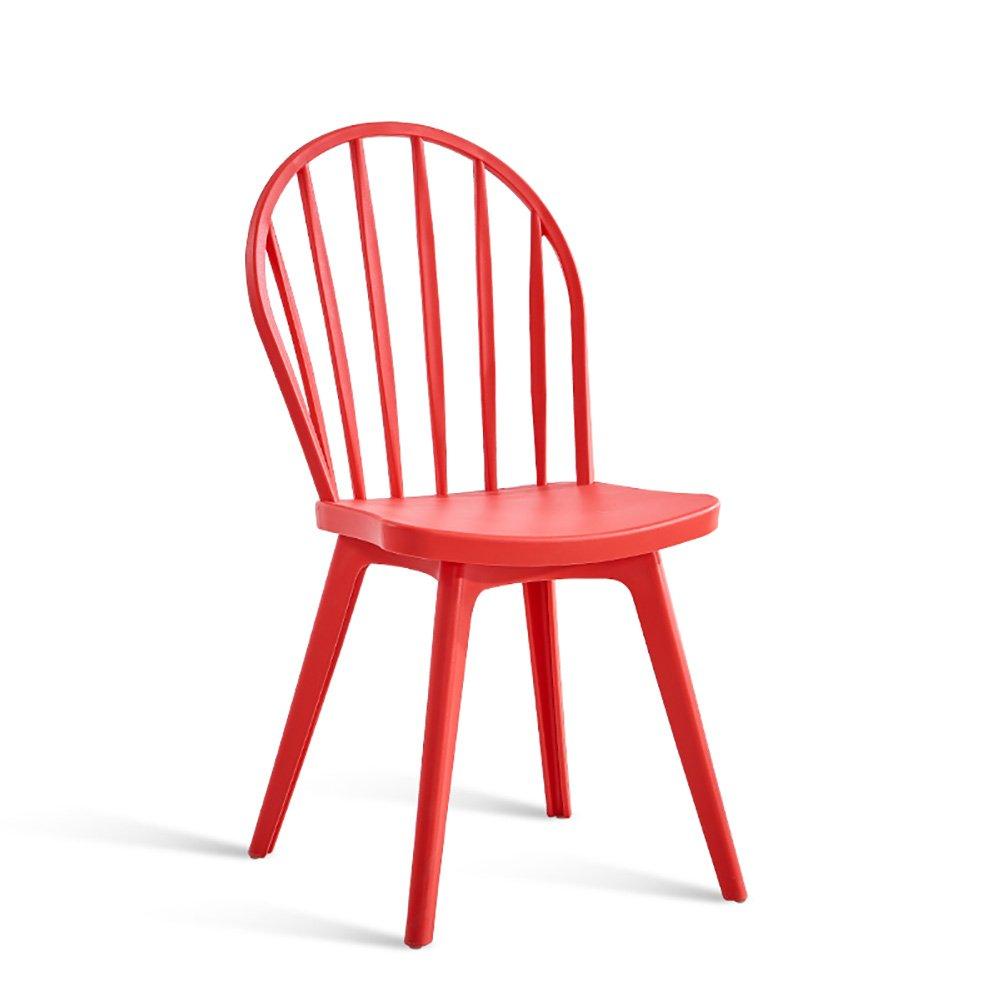 ダイニングチェア背もたれ家レストランノルディックレジャーレトロプラスチックチェア (色 : Red, サイズ さいず : Set of 1) B07FB7757G Set of 1 Red Red Set of 1