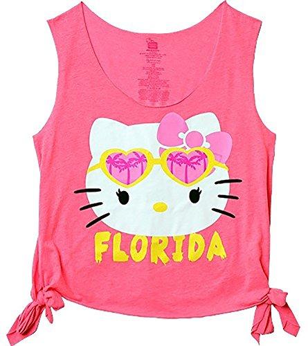 Hello Kitty Florida Too Cool Juniors Summer Beach Tank T-Shirt Womens', Adult Size M Pink