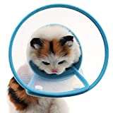 Bolbove Pet Plastic Clear Cone Recovery E-Collar with Dots Design Soft Edge for Small Dogs & Cats (Small, Blue)