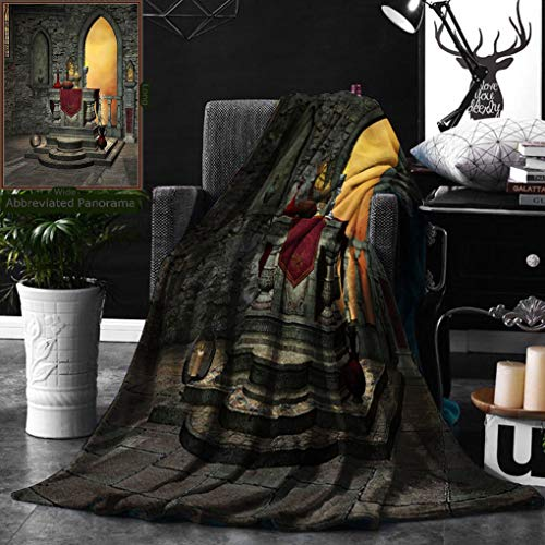 Unique Custom Double Sides Print Flannel Blankets Gothic Decor Ancient Altar Holy Table In Castle Baroque Inspired Alchemy Wizard Design Super Soft Blanketry for Bed Couch, Twin Size 60 x 80 Inches by Ralahome
