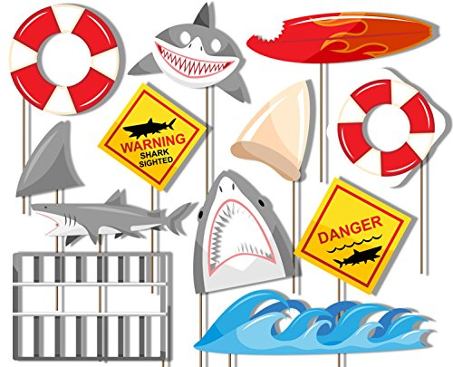 Shark Photo Booth Props Kit - 20 Pack Party Camera Props Fully Assembled -