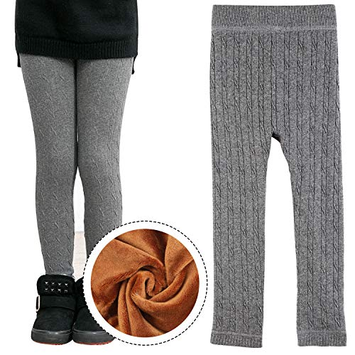 inter Warm Velvet Leggings Pant Striped Cable Knit Fleece Lined Tights for Girls 8-9 Year Old Gray ()