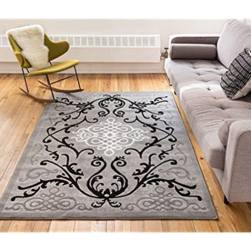 Zephyr Grey Traditional Oriental Sarouk Medallion Modern Casual Floral 8x10    7 10  x 9 10    Area Rug Thick Soft Plush Shed Free. Plush Rugs for Bedrooms  Amazon com