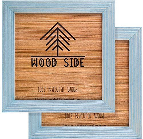 - Rustic Wooden Square Picture Frames 8x8 - Set of 2-100% Natural Eco Distressed Wood with Real Glass for Wall Mounting Photo Frame - Blue Turquoise