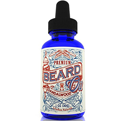 Beard Oil and Conditioner for Growth - Sandalwood Scent 100% Organic, Natural and Best for Softening, Control Dandruff and Stop the Itch, 1 OZ