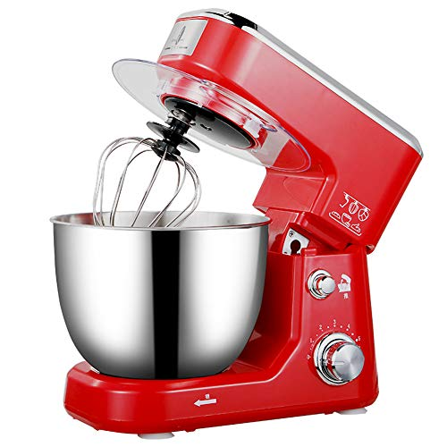 High Power Kitchen Stand Mixer, Heavy Duty Electric Mixer with Bowl Desktop Mixer Household Stainless Steel Beaters 6-Speed Settings-red