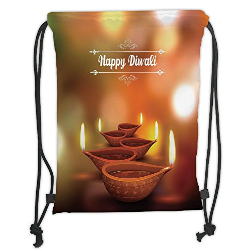 Custom Printed Drawstring Sack Backpacks Bags,Diwali,Eastern Religious Celebration with Best Wishes Happy Diwali Festive Spiritual Art Print,Brown Soft Satin,5 Liter Capacity,Adjustable String Closure by iPrint