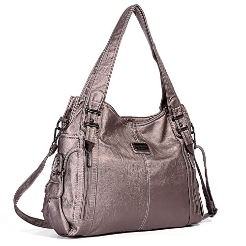 Tote 1191 Multiple Women's Pewter Handbag Pockets PU Satchel Designer Handbags Shoulder Barcelo Ladies' Roomy Bag Angel Fashion Bag Bag xITwU5Pqpp