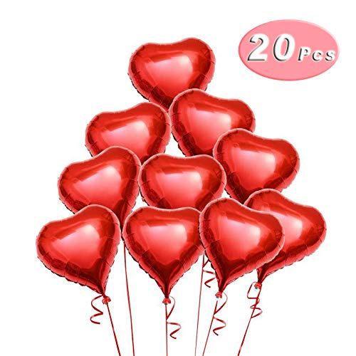 18 Inch Red Heart Balloons Foil Balloons Mylar Balloons for Party Decorations, 20 Pieces