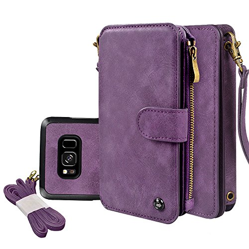 "Price comparison product image Galaxy S8 Case, CORNMI Wallet Case 14 Card Slot Wristlet Replacement Shoulder Strap Flip Stand Leather Zipper Purse Detachable Magnetic Case For Galaxy S8 5.8"" (Purple for Samsung Galaxy S8 5.8"")"